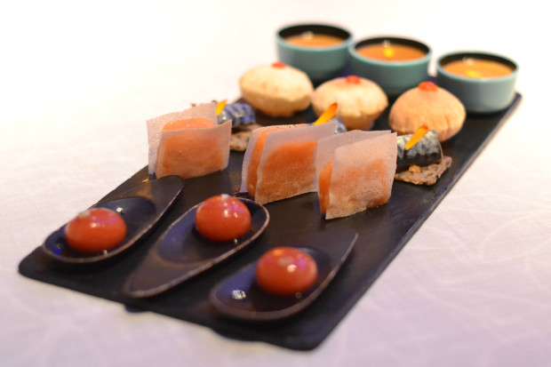 A tray of amuse-bouches that includes spherical Bloody Marys